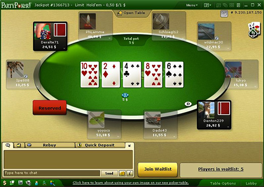 Jouez sur la table de poker en ligne Party Poker !